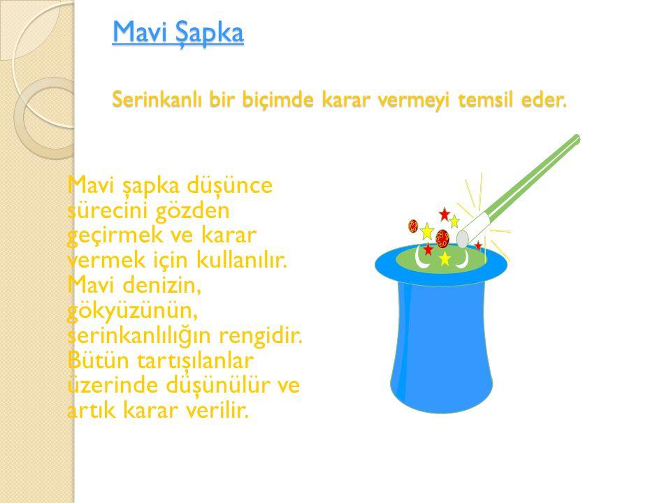 Mavi Şapka Serinkanlı bir biçimde karar vermeyi temsil eder.