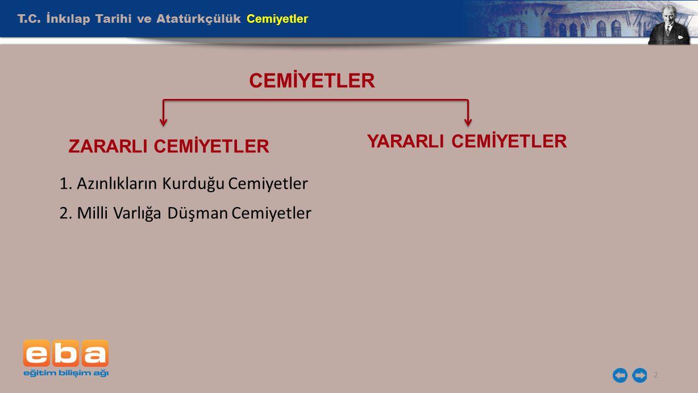 CEMİYETLER T.C. İnkılap Tarihi ve Atatürkçülük Cemiyetler