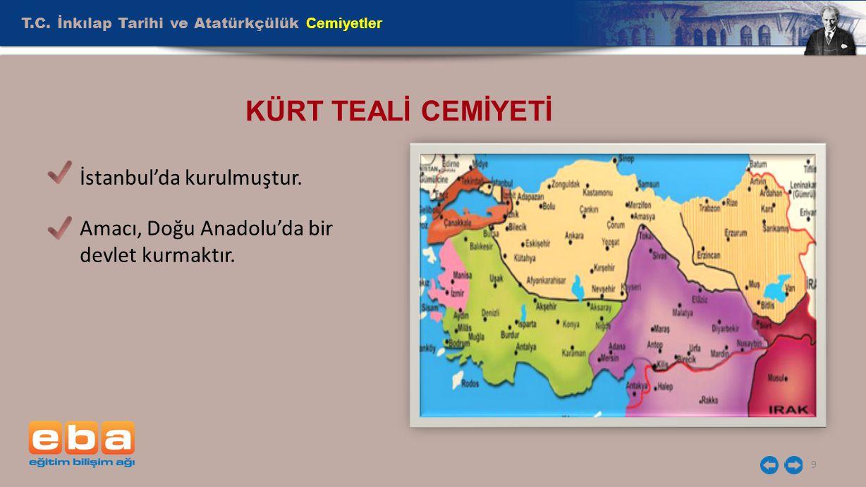 KÜRT TEALİ CEMİYETİ T.C. İnkılap Tarihi ve Atatürkçülük Cemiyetler