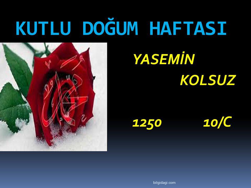 KUTLU DOĞUM HAFTASI YASEMİN KOLSUZ 1250 10/C bilgidagi.com