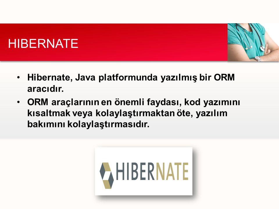 HIBERNATE Hibernate, Java platformunda yazılmış bir ORM aracıdır.