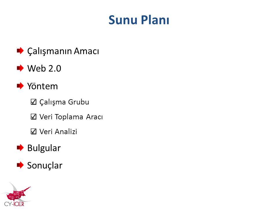 Sunu Planı Çalışmanın Amacı Web 2.0 Yöntem Bulgular Sonuçlar