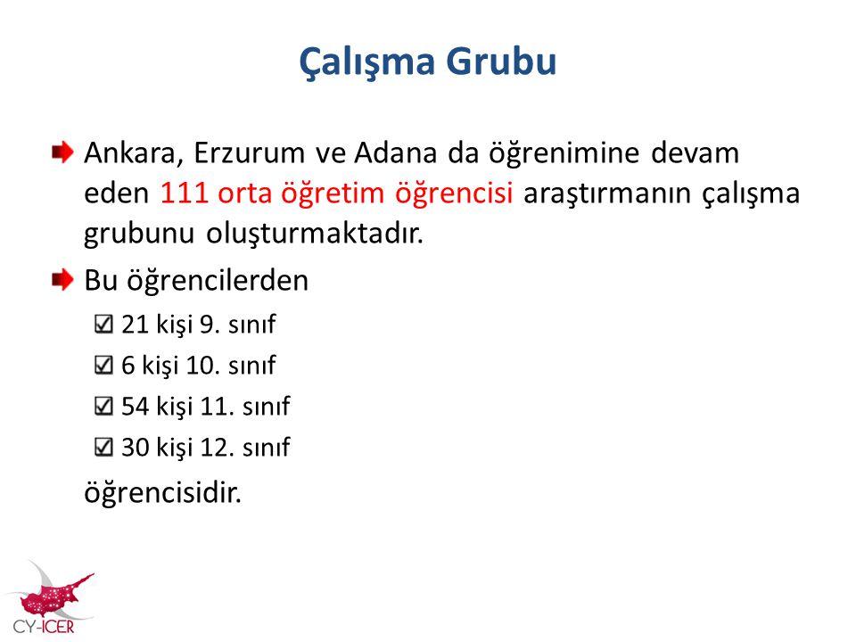 Çalışma Grubu Ankara, Erzurum ve Adana da öğrenimine devam eden 111 orta öğretim öğrencisi araştırmanın çalışma grubunu oluşturmaktadır.