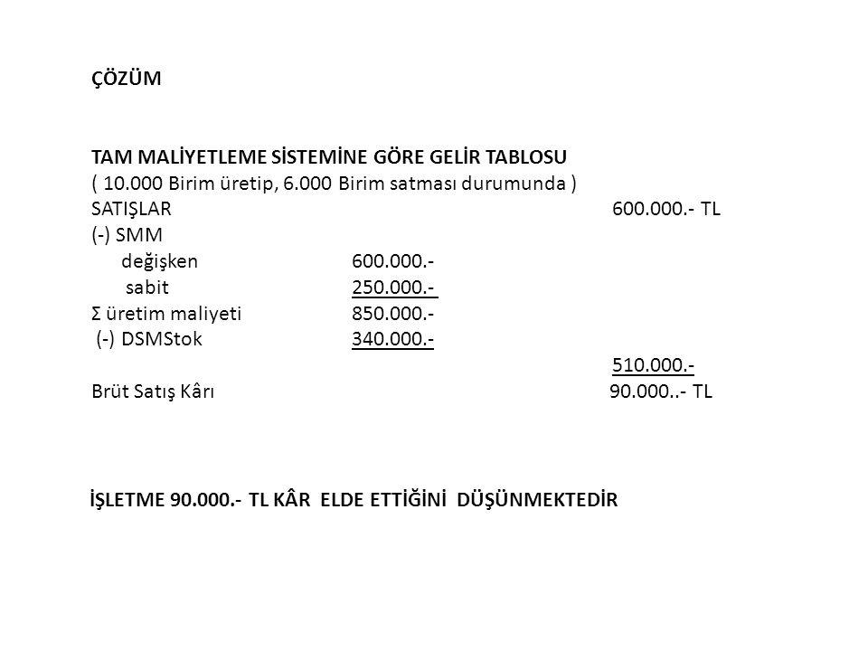 ÇÖZÜM TAM MALİYETLEME SİSTEMİNE GÖRE GELİR TABLOSU. ( 10.000 Birim üretip, 6.000 Birim satması durumunda )