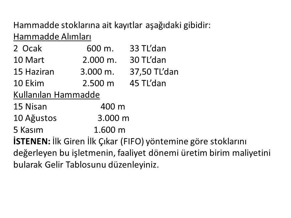 Hammadde stoklarına ait kayıtlar aşağıdaki gibidir: