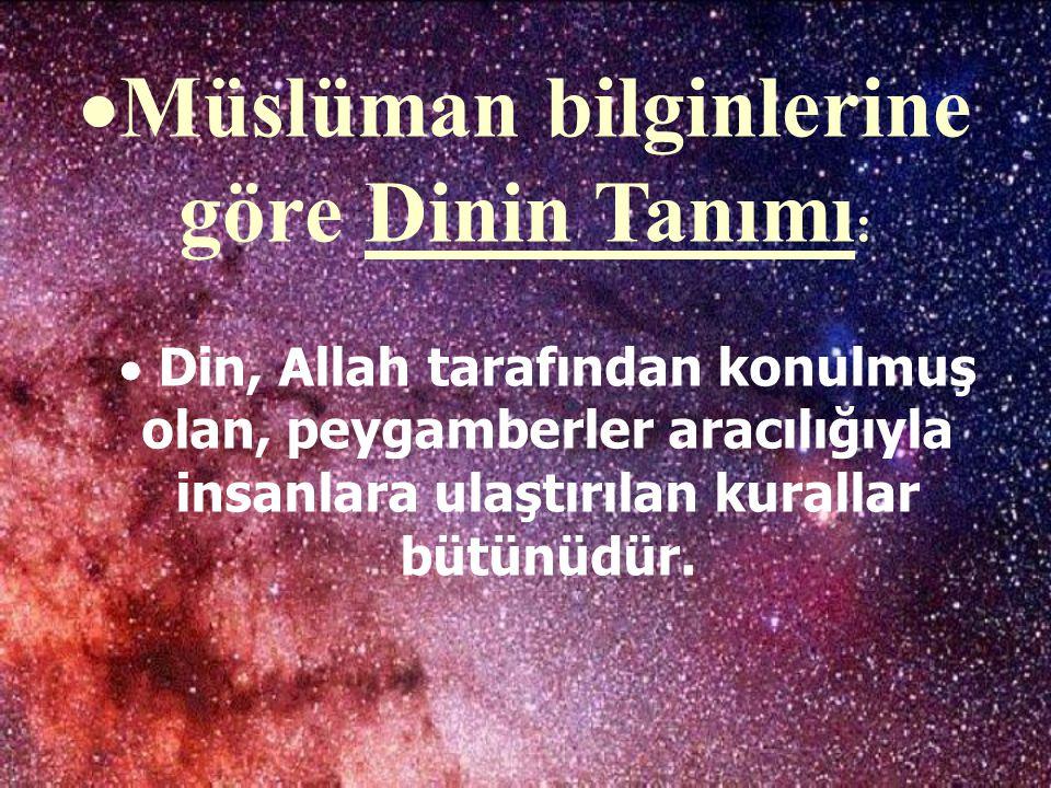 Müslüman bilginlerine göre Dinin Tanımı: