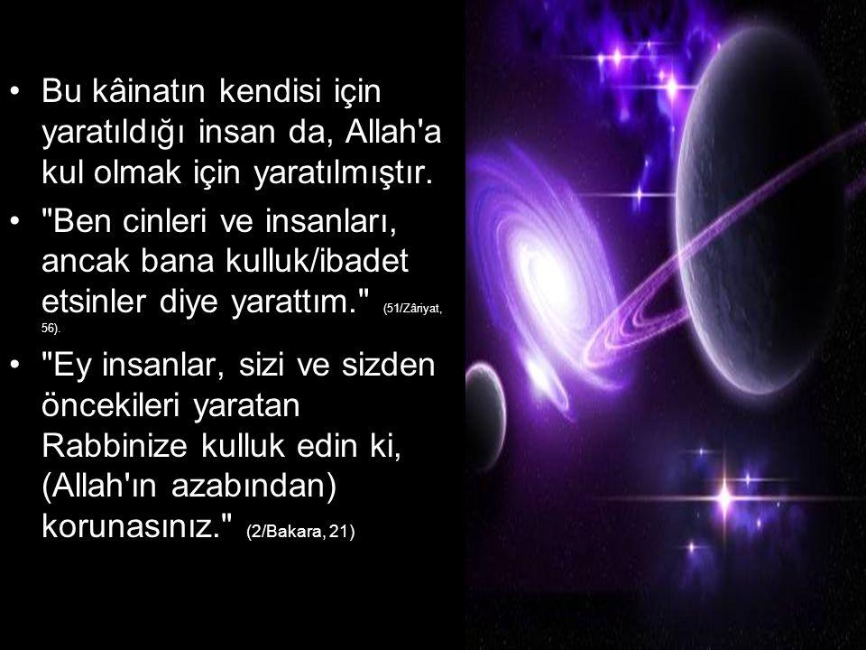 Bu kâinatın kendisi için yaratıldığı insan da, Allah a kul olmak için yaratılmıştır.