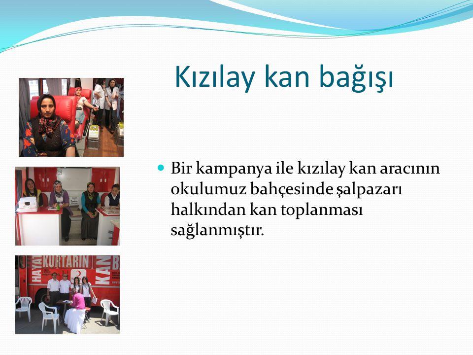 Kızılay kan bağışı Bir kampanya ile kızılay kan aracının okulumuz bahçesinde şalpazarı halkından kan toplanması sağlanmıştır.