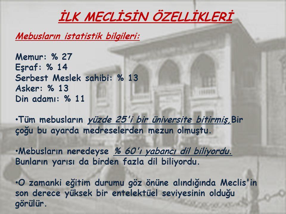 İLK MECLİSİN ÖZELLİKLERİ