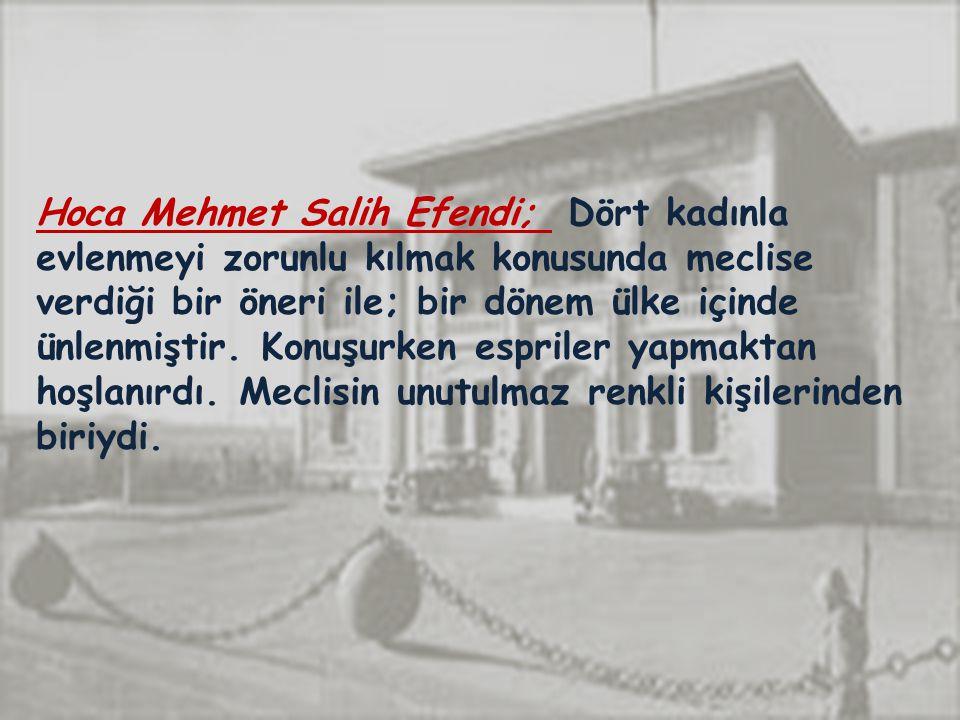 Hoca Mehmet Salih Efendi; Dört kadınla evlenmeyi zorunlu kılmak konusunda meclise verdiği bir öneri ile; bir dönem ülke içinde ünlenmiştir. Konuşurken espriler yapmaktan hoşlanırdı. Meclisin unutulmaz renkli kişilerinden biriydi.