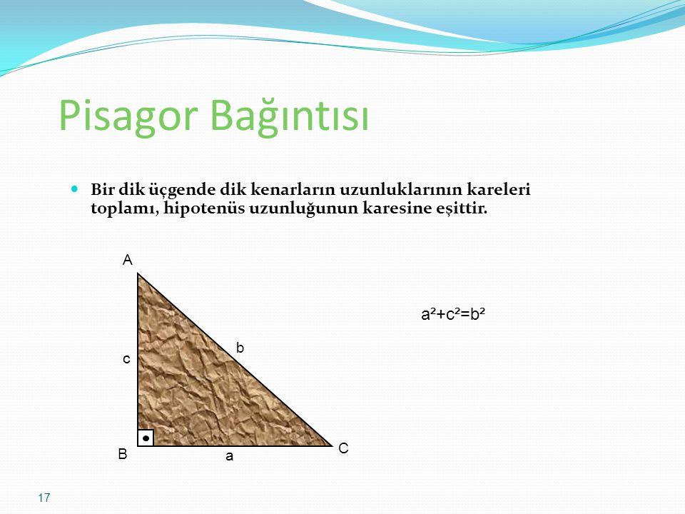 Pisagor Bağıntısı Bir dik üçgende dik kenarların uzunluklarının kareleri toplamı, hipotenüs uzunluğunun karesine eşittir.