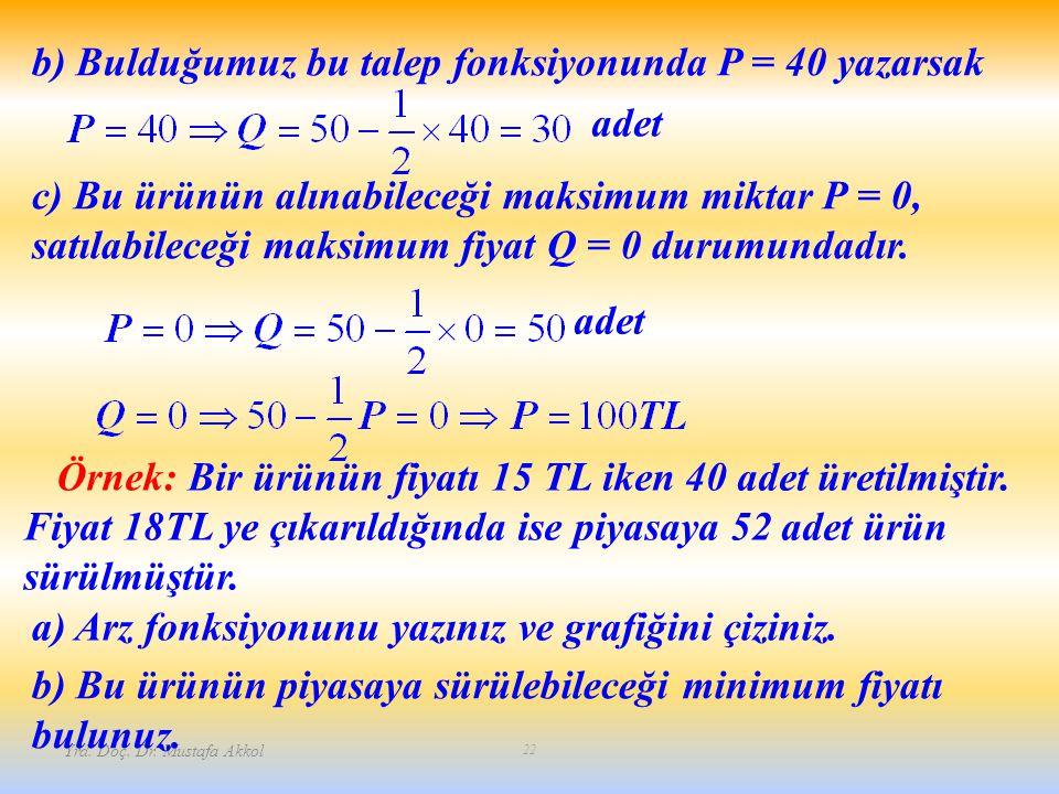 b) Bulduğumuz bu talep fonksiyonunda P = 40 yazarsak adet