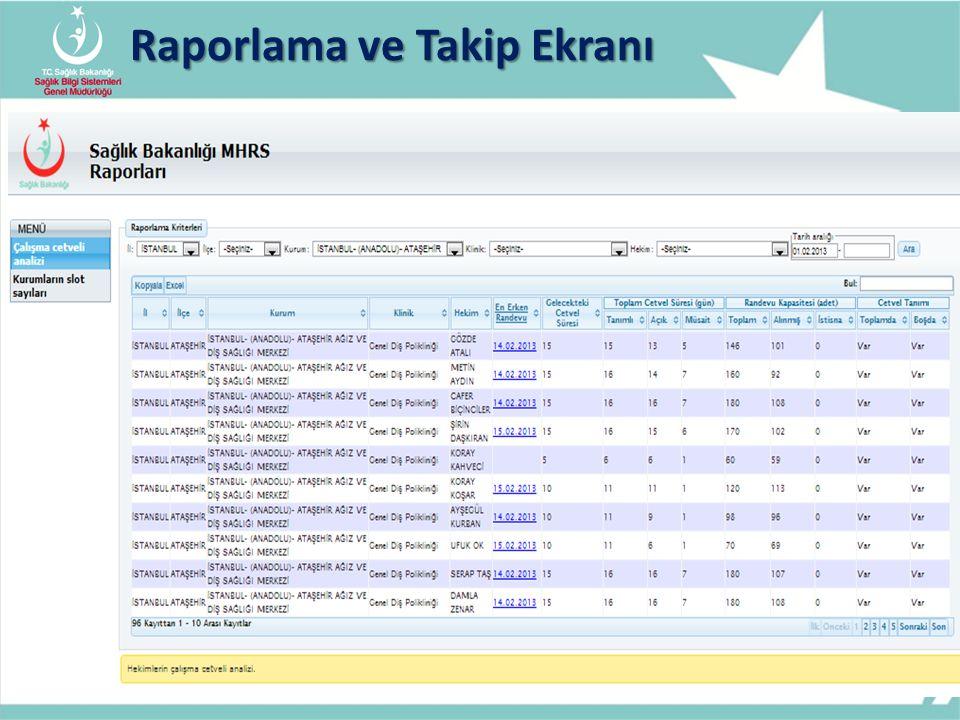 Raporlama ve Takip Ekranı