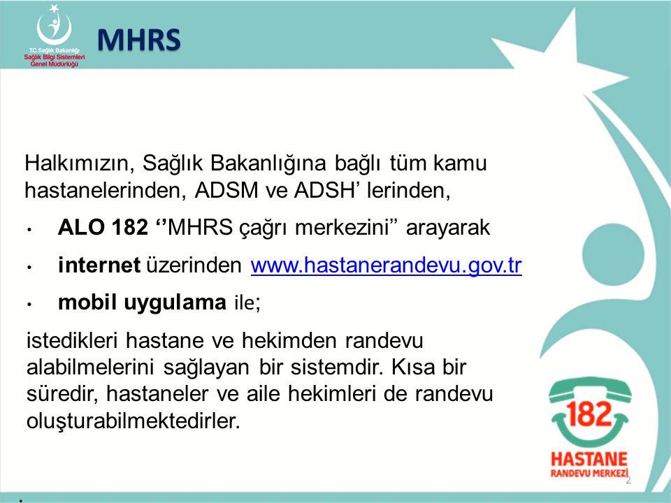 MHRS Halkımızın, Sağlık Bakanlığına bağlı tüm kamu hastanelerinden, ADSM ve ADSH' lerinden, ALO 182 ''MHRS çağrı merkezini'' arayarak.