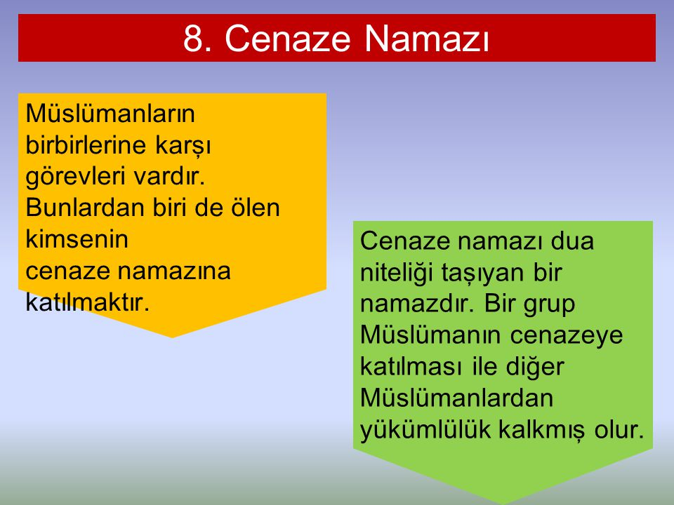 8. Cenaze Namazı Müslümanların birbirlerine karşı görevleri vardır. Bunlardan biri de ölen kimsenin.
