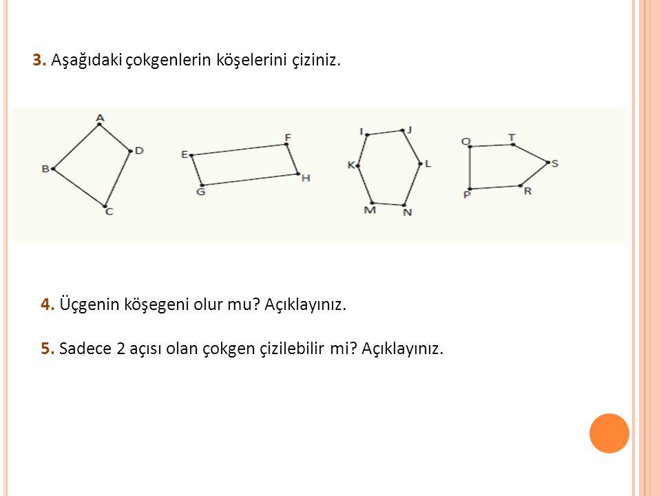 3. Aşağıdaki çokgenlerin köşelerini çiziniz.