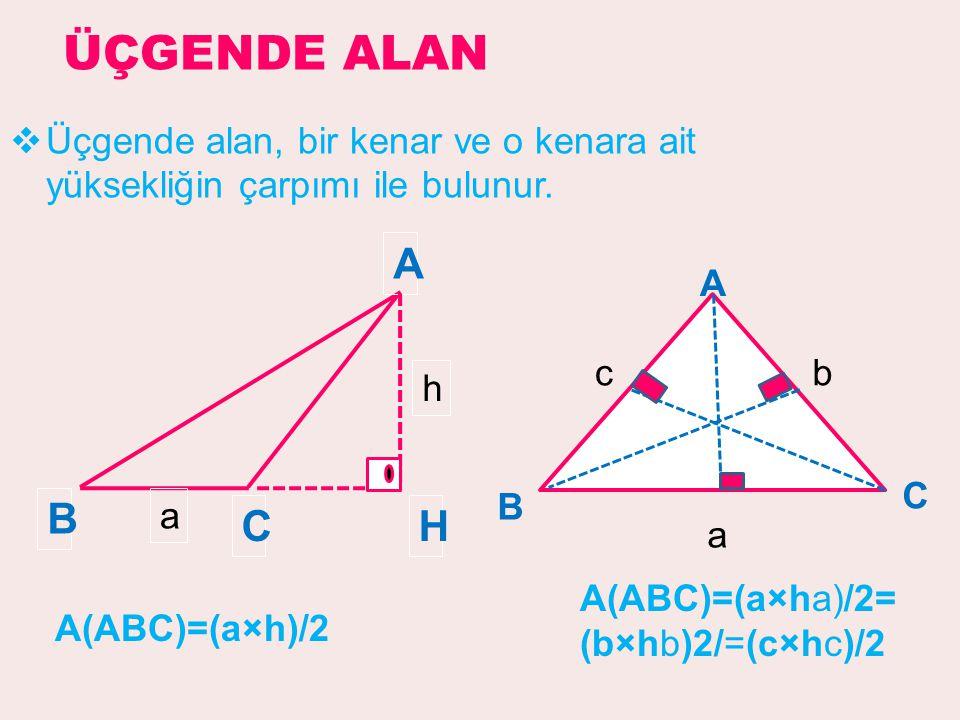 ÜÇGENDE ALAN Üçgende alan, bir kenar ve o kenara ait yüksekliğin çarpımı ile bulunur. A. B. H. C.