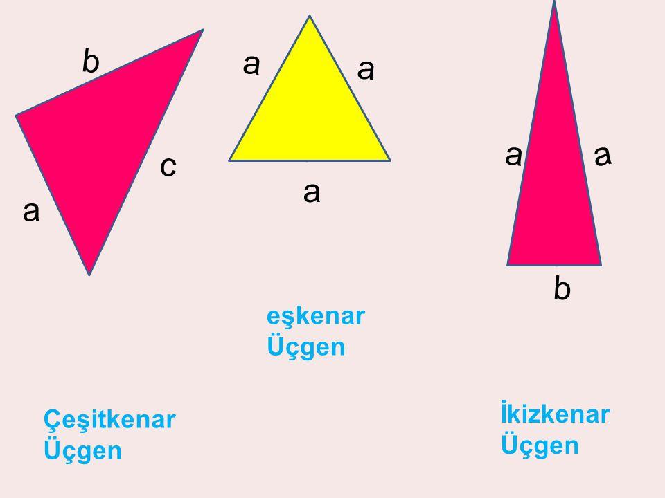 a b a a b c eşkenar Üçgen İkizkenar Üçgen Çeşitkenar Üçgen