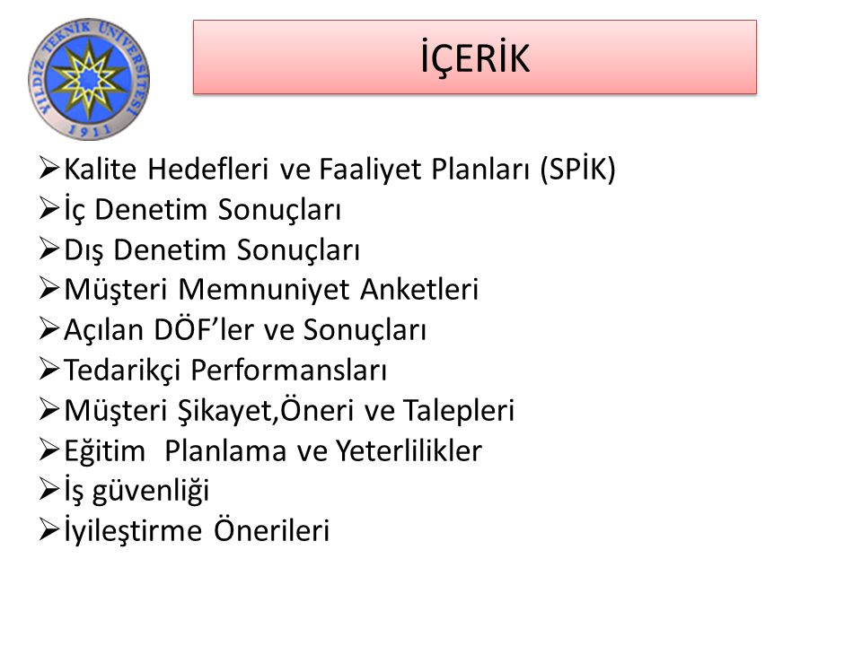 İÇERİK Kalite Hedefleri ve Faaliyet Planları (SPİK)