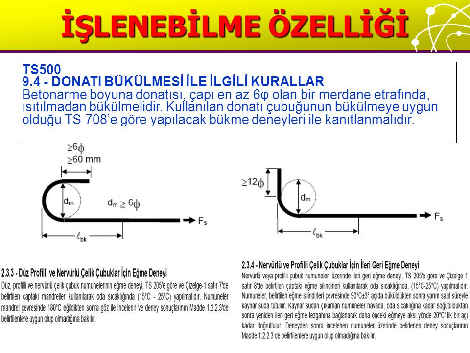 İŞLENEBİLME ÖZELLİĞİ TS500 9.4 - DONATI BÜKÜLMESİ İLE İLGİLİ KURALLAR