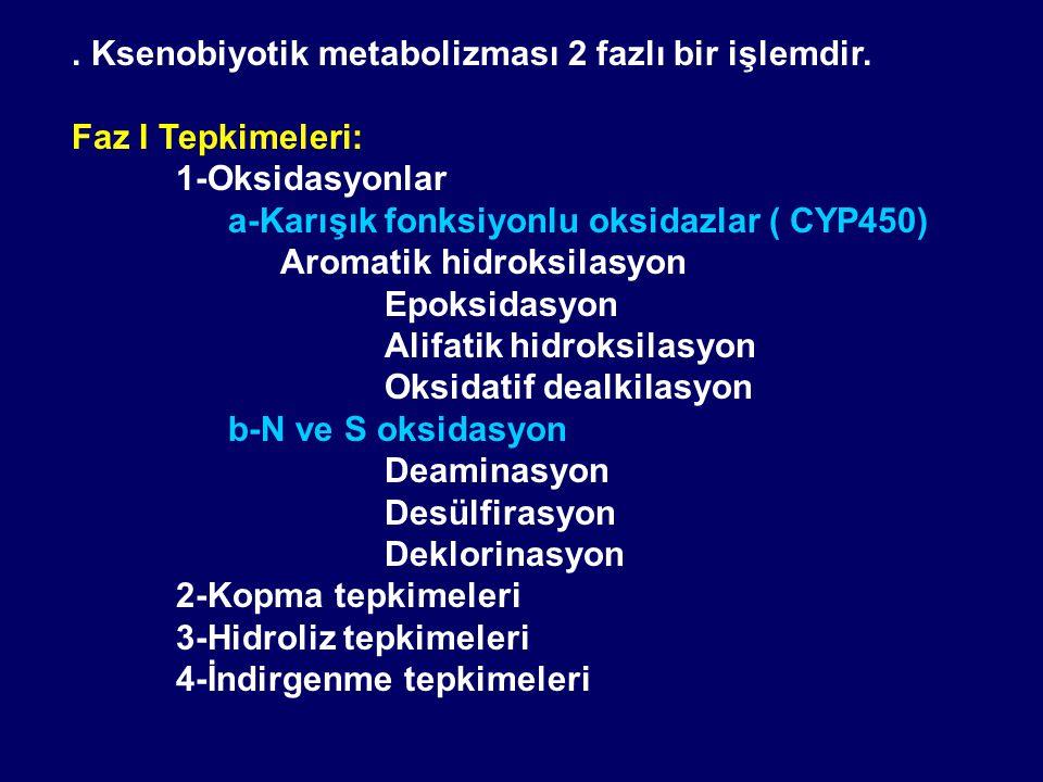 . Ksenobiyotik metabolizması 2 fazlı bir işlemdir.