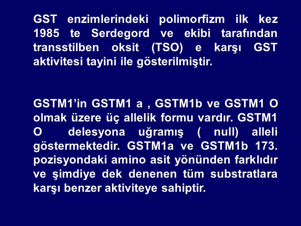 GST enzimlerindeki polimorfizm ilk kez 1985 te Serdegord ve ekibi tarafından transstilben oksit (TSO) e karşı GST aktivitesi tayini ile gösterilmiştir.