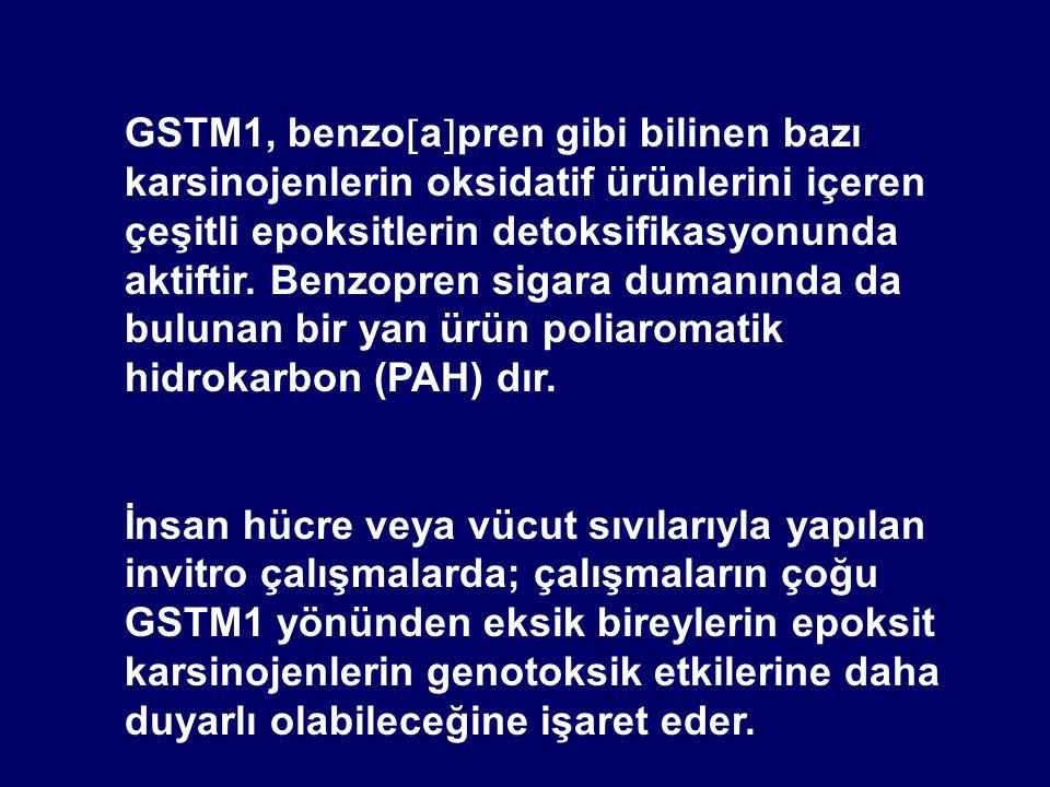GSTM1, benzoapren gibi bilinen bazı karsinojenlerin oksidatif ürünlerini içeren çeşitli epoksitlerin detoksifikasyonunda aktiftir. Benzopren sigara dumanında da bulunan bir yan ürün poliaromatik hidrokarbon (PAH) dır.