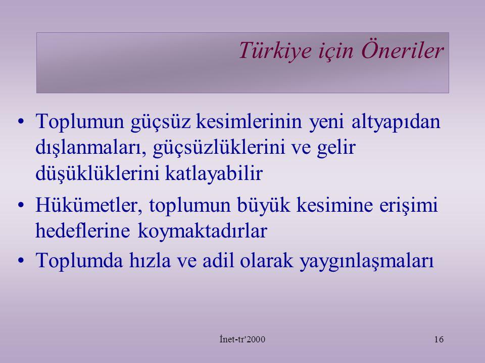 Türkiye için Öneriler Toplumun güçsüz kesimlerinin yeni altyapıdan dışlanmaları, güçsüzlüklerini ve gelir düşüklüklerini katlayabilir.