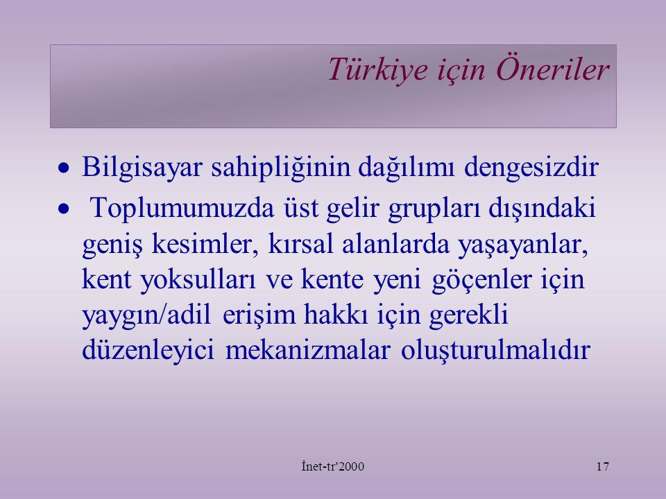 Türkiye için Öneriler Bilgisayar sahipliğinin dağılımı dengesizdir