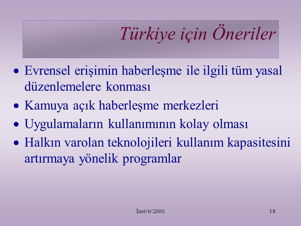 Türkiye için Öneriler Evrensel erişimin haberleşme ile ilgili tüm yasal düzenlemelere konması. Kamuya açık haberleşme merkezleri.