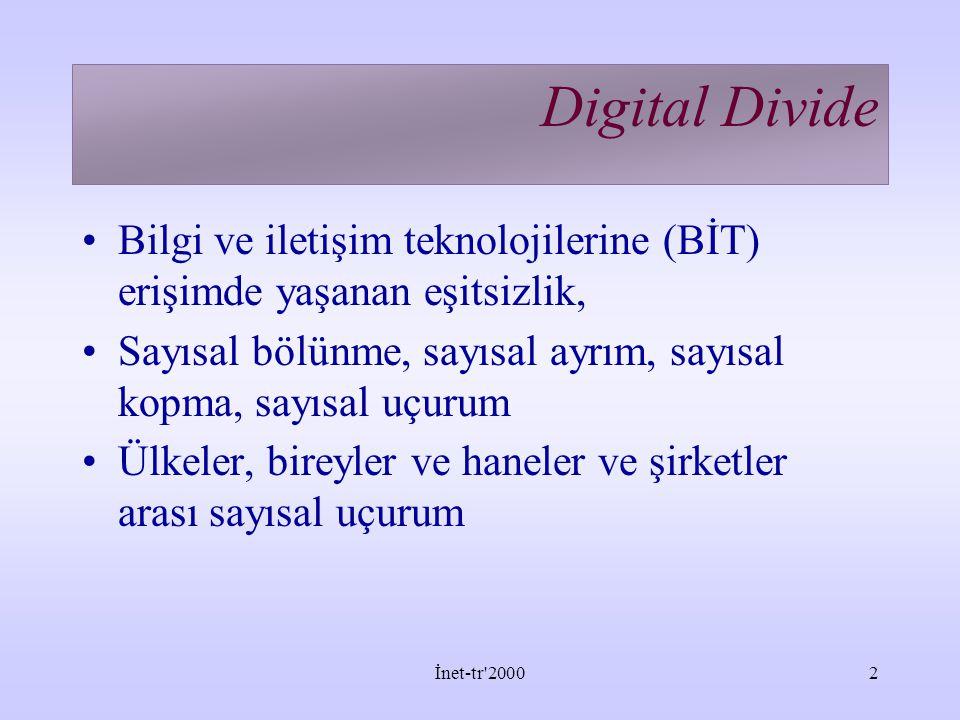 Digital Divide Bilgi ve iletişim teknolojilerine (BİT) erişimde yaşanan eşitsizlik, Sayısal bölünme, sayısal ayrım, sayısal kopma, sayısal uçurum.