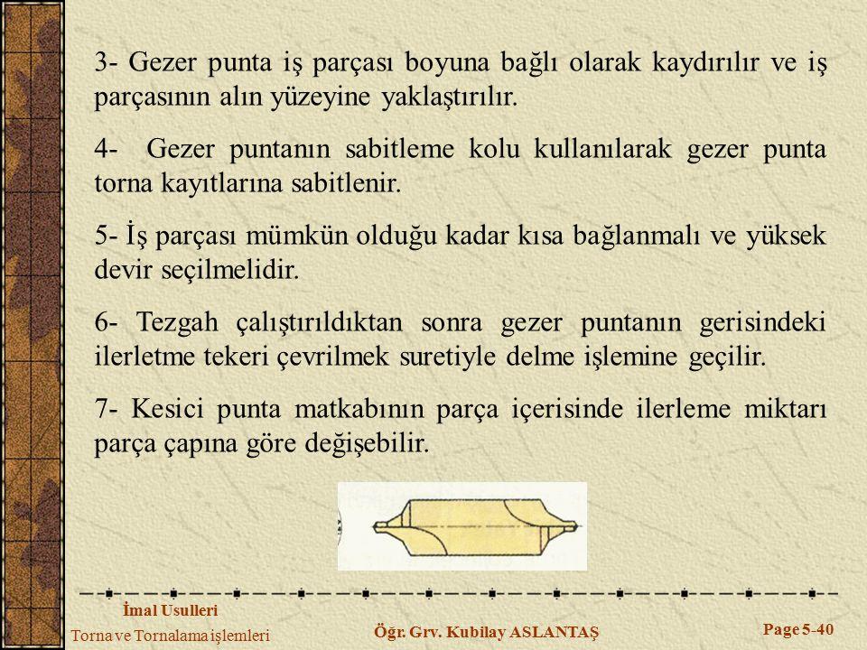 3- Gezer punta iş parçası boyuna bağlı olarak kaydırılır ve iş parçasının alın yüzeyine yaklaştırılır.
