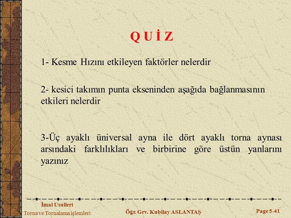 Q U İ Z 1- Kesme Hızını etkileyen faktörler nelerdir