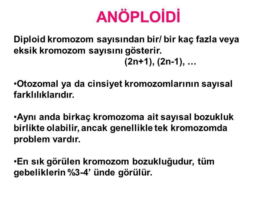 ANÖPLOİDİ Diploid kromozom sayısından bir/ bir kaç fazla veya eksik kromozom sayısını gösterir. (2n+1), (2n-1), …