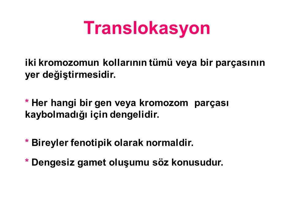 Translokasyon iki kromozomun kollarının tümü veya bir parçasının yer değiştirmesidir.