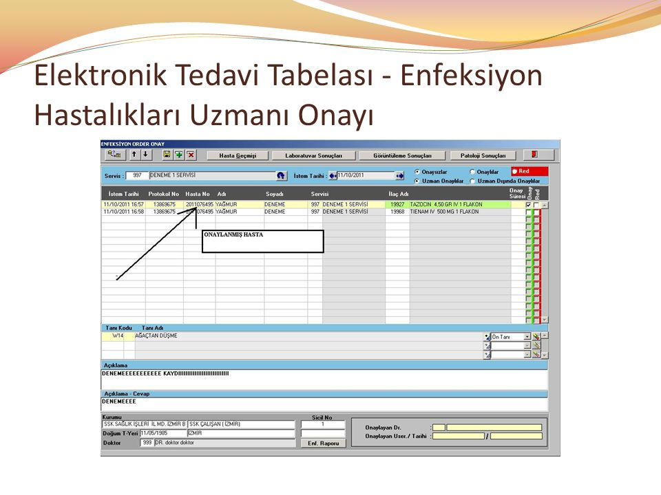 Elektronik Tedavi Tabelası - Enfeksiyon Hastalıkları Uzmanı Onayı