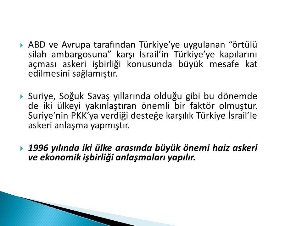 ABD ve Avrupa tarafından Türkiye'ye uygulanan örtülü silah ambargosuna karşı İsrail'in Türkiye'ye kapılarını açması askeri işbirliği konusunda büyük mesafe kat edilmesini sağlamıştır.