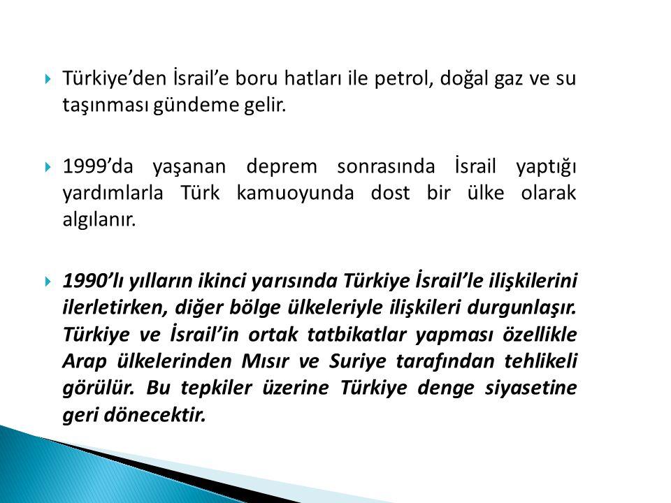 Türkiye'den İsrail'e boru hatları ile petrol, doğal gaz ve su taşınması gündeme gelir.