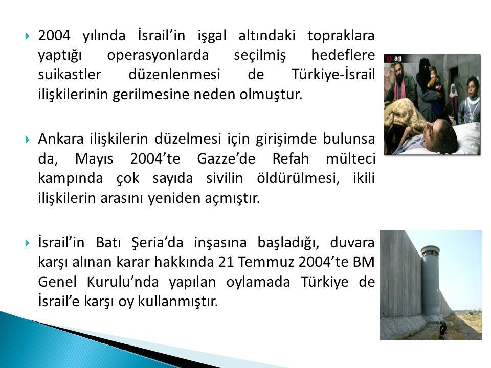 2004 yılında İsrail'in işgal altındaki topraklara yaptığı operasyonlarda seçilmiş hedeflere suikastler düzenlenmesi de Türkiye-İsrail ilişkilerinin gerilmesine neden olmuştur.