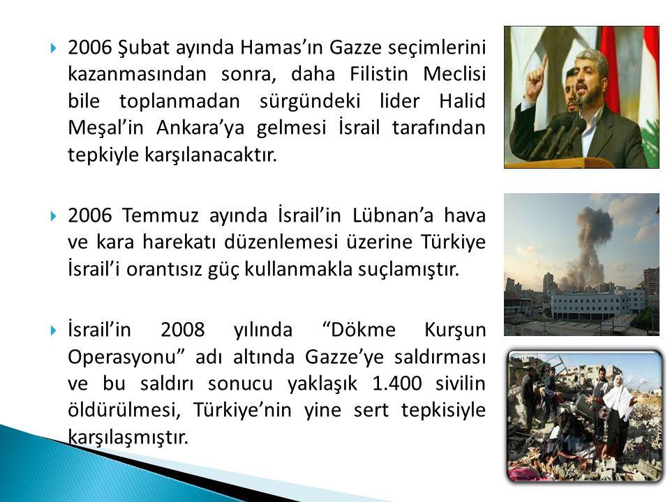2006 Şubat ayında Hamas'ın Gazze seçimlerini kazanmasından sonra, daha Filistin Meclisi bile toplanmadan sürgündeki lider Halid Meşal'in Ankara'ya gelmesi İsrail tarafından tepkiyle karşılanacaktır.
