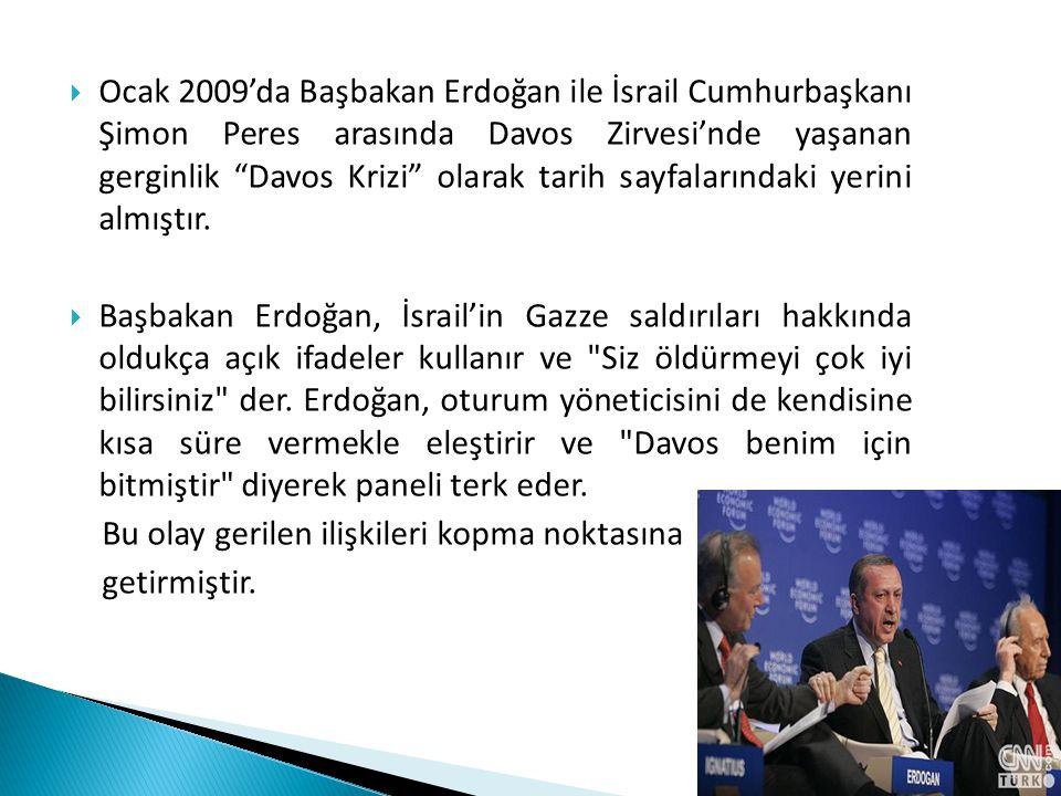 Ocak 2009'da Başbakan Erdoğan ile İsrail Cumhurbaşkanı Şimon Peres arasında Davos Zirvesi'nde yaşanan gerginlik Davos Krizi olarak tarih sayfalarındaki yerini almıştır.