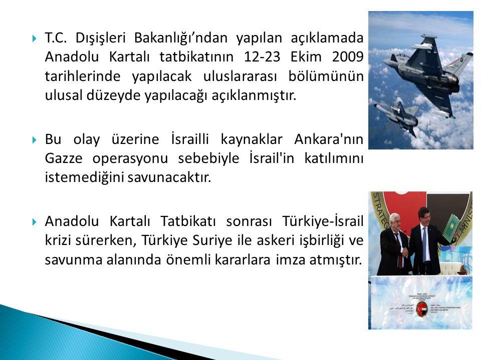 T.C. Dışişleri Bakanlığı'ndan yapılan açıklamada Anadolu Kartalı tatbikatının 12-23 Ekim 2009 tarihlerinde yapılacak uluslararası bölümünün ulusal düzeyde yapılacağı açıklanmıştır.