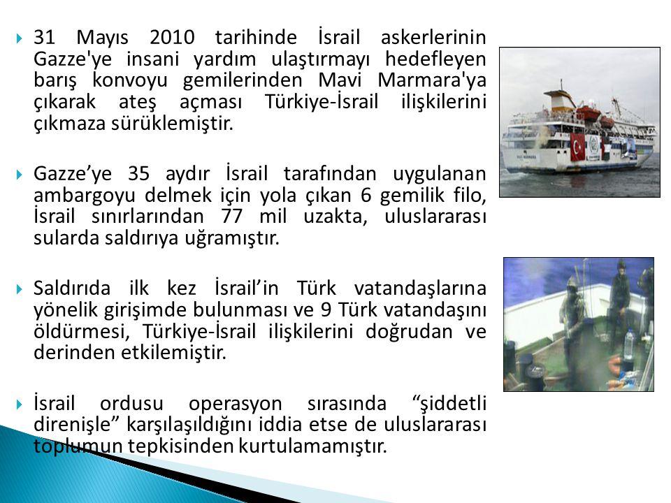 31 Mayıs 2010 tarihinde İsrail askerlerinin Gazze ye insani yardım ulaştırmayı hedefleyen barış konvoyu gemilerinden Mavi Marmara ya çıkarak ateş açması Türkiye-İsrail ilişkilerini çıkmaza sürüklemiştir.