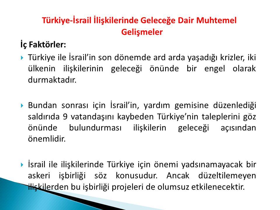 Türkiye-İsrail İlişkilerinde Geleceğe Dair Muhtemel Gelişmeler