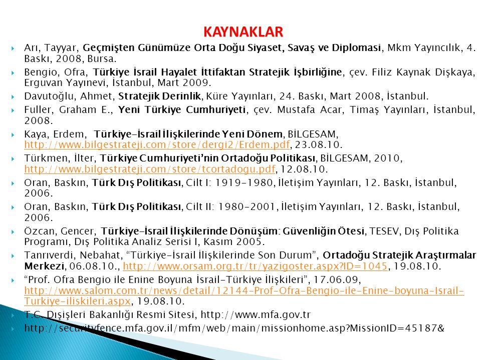KAYNAKLAR Arı, Tayyar, Geçmişten Günümüze Orta Doğu Siyaset, Savaş ve Diplomasi, Mkm Yayıncılık, 4. Baskı, 2008, Bursa.