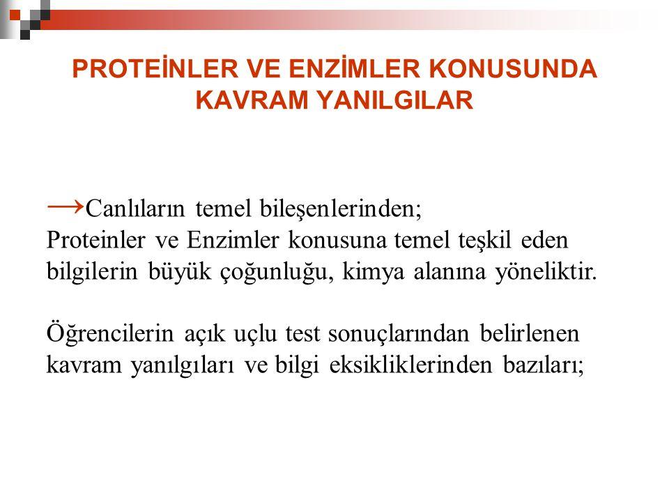 PROTEİNLER VE ENZİMLER KONUSUNDA KAVRAM YANILGILAR