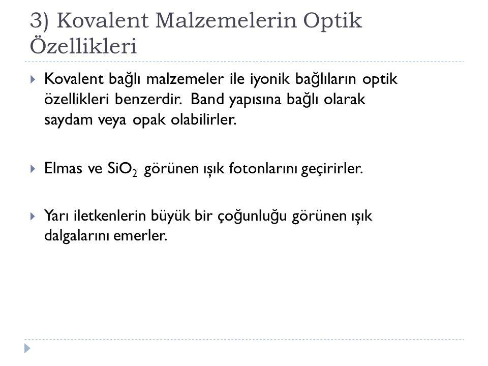 3) Kovalent Malzemelerin Optik Özellikleri
