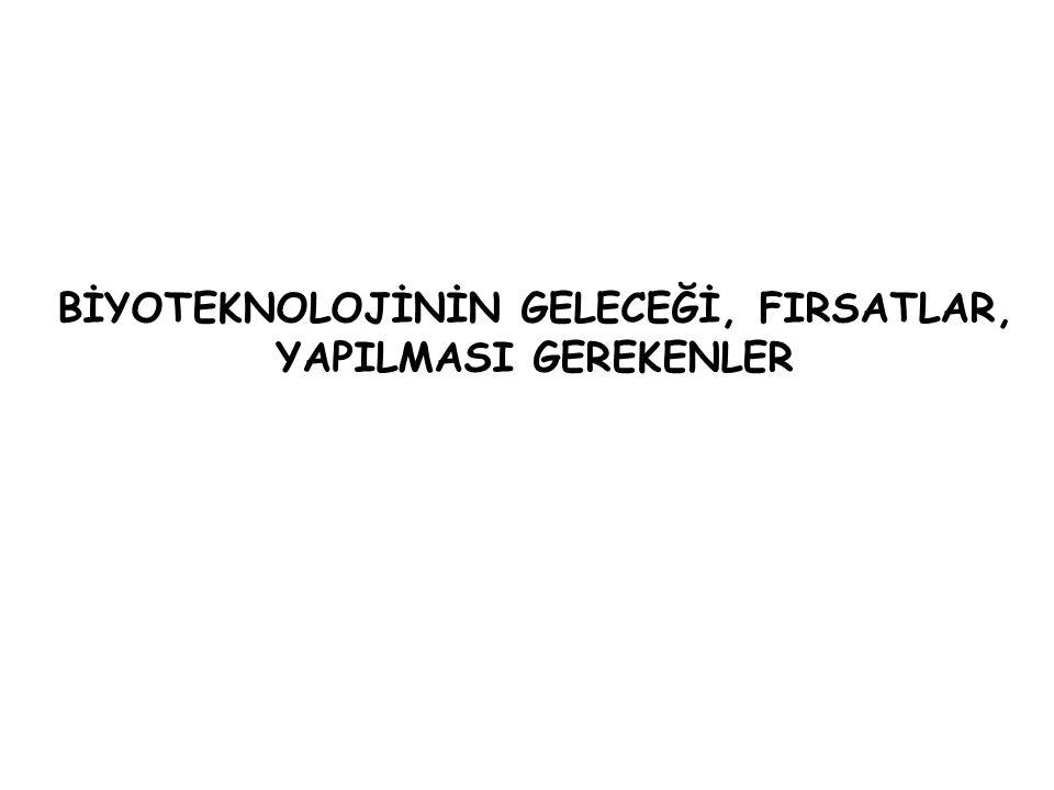 BİYOTEKNOLOJİNİN GELECEĞİ, FIRSATLAR,