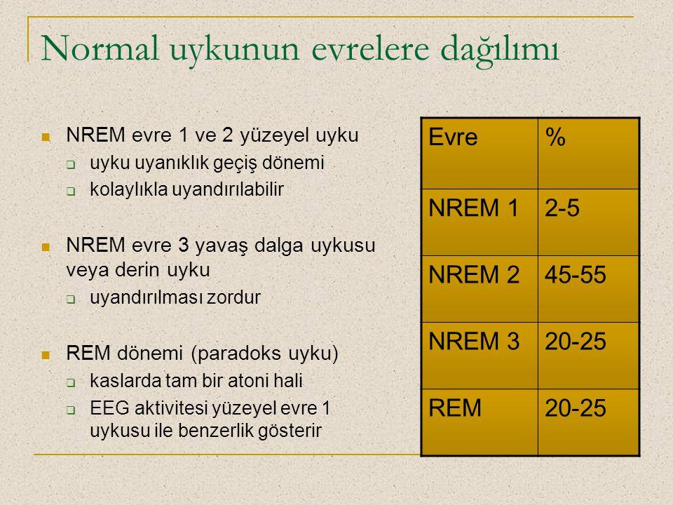 Normal uykunun evrelere dağılımı