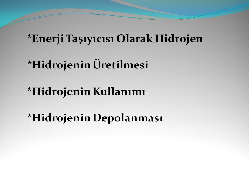 *Enerji Taşıyıcısı Olarak Hidrojen